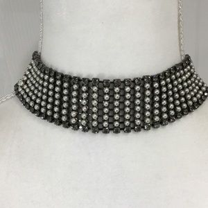 Rhinestone & Pearl Choker Necklace by Express